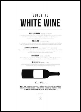 Guide to White Wine Póster
