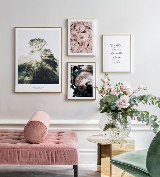 Gallery wall with pink and green colours