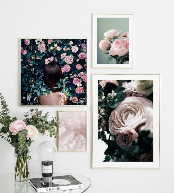 Picture wall pink green colours framed in gold