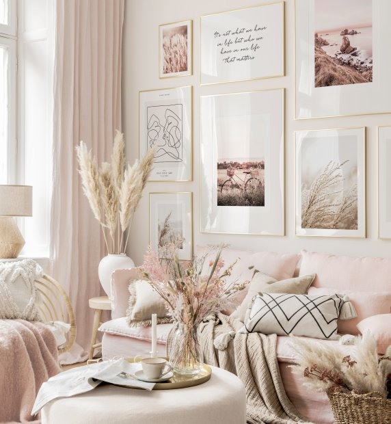 Boho pastel pink gallery wall line art posters pink prints golden frames